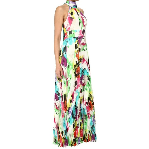 Halter Floral Pleated Maxi Dress